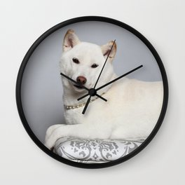 Cream Shiba Inu Dog Wall Clock