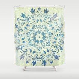 green mandala design Shower Curtain