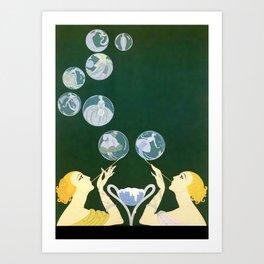 """1920's Art Deco Design """"Bubbles"""" Art Print"""