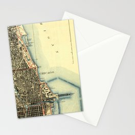 Chicago Colorful Map, vintage map year 1929 Stationery Cards