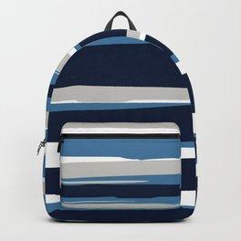 Ocean Beach Striped Landscape, Navy, Blue, Gray Backpack