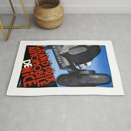 1935 Nice France Automobile Grand Prix Poster Rug