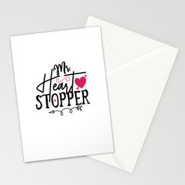 Mr. Heart Stopper - Funny Love humor - Cute typography - Lovely and romantic quotes illustration Stationery Cards