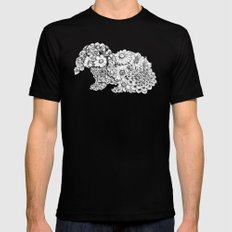 Floral Rabbit Mens Fitted Tee LARGE Black