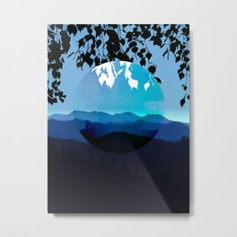 Mountains and Leaves in Blue and Black Metal Print