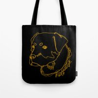 rottweiler Tote Bags featuring Rottweiler #2 by Just Like A Breeze