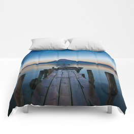 The Dock Sunset (Color) Comforters