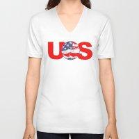 soccer V-neck T-shirts featuring USA Soccer by Bunhugger Design
