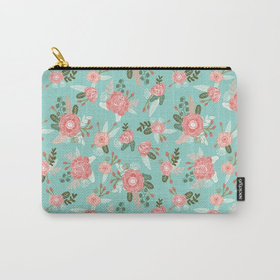 Flowers pastel mint painting watercolor abstract minimal gender neutral florals nursery baby kids Carry-All Pouch