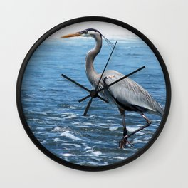 Great Blue Heron on the Pacific Coast in Costa Rica Wall Clock