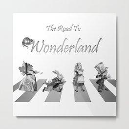 The Road To Wonderland - Black & White Metal Print