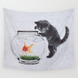 Cat playing with red fish Wall Tapestry