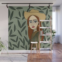 Cowgirl, Green and Gold,  Girl Illustration   Wall Mural