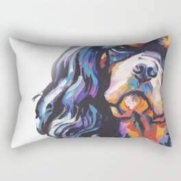 black and tan Cavalier King Charles Spaniel Dog Portrait Pop Art painting by Lea Rectangular Pillow