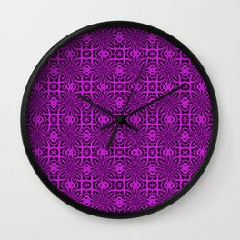 Dazzling Violet Geometric Floral Abstract Wall Clock