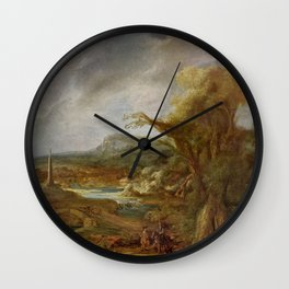 Stolen Art - Landscape with an Obelisk by Govert Flinck Wall Clock