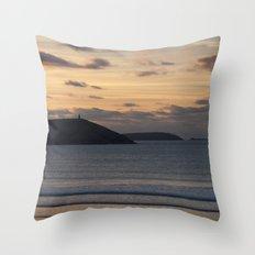 Evening Skies Over Polzeath Throw Pillow