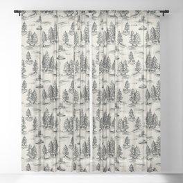Black Alien Abduction Toile De Jouy Pattern Sheer Curtain