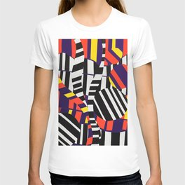 Black & White Stripes with Purple & Yellow T-shirt