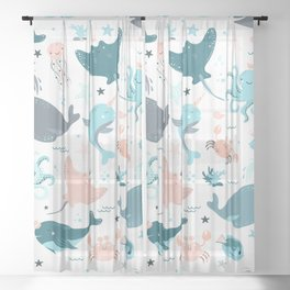 Cute seamless pattern with fish Sheer Curtain