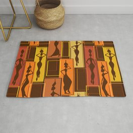 African Water Girl Pattern Rug