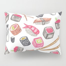 Cute Trendy Watercolor Sushi Sake and Chopsticks Pillow Sham