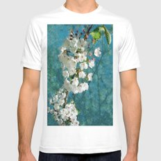 Blossom Textured White MEDIUM Mens Fitted Tee