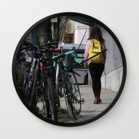 backpack Wall Clocks featuring Bikes and backpack by RMK Photography
