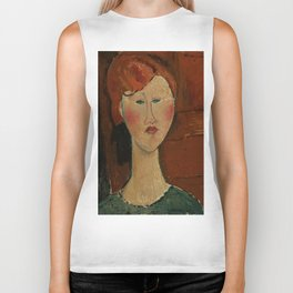 """Amedeo Modigliani """"Femme aux cheveux rouge (Woman with Red Hair)"""" Biker Tank"""
