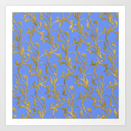 Queenlike on blue  I- gold ornament on blue backround- elegant pattern Art Print