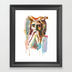 Watercolor Old Man Framed Art Print