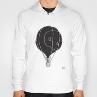hot air balloon Hoodies featuring Hot Air Balloon Skull by Fupete Art