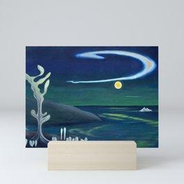 Island Moon before the World coastal island landscape painting by Marguerite Blasingame Mini Art Print