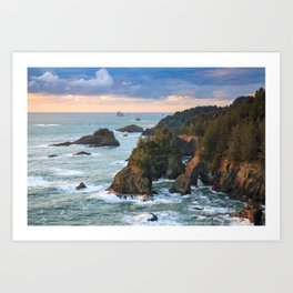 Oregon's Natural Bridges Sunset Art Print