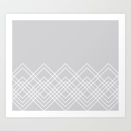 Geometric abstract - gray and white. Art Print