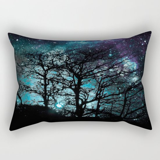 Black Trees Teal Violet space Rectangular Pillow