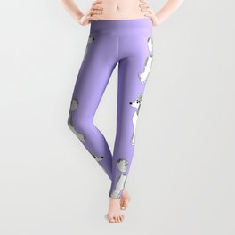 White Standard Poodles with Lavender Leggings