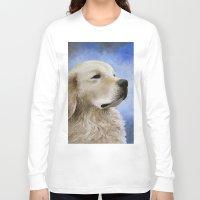 golden retriever Long Sleeve T-shirts featuring Dog 98 Golden Retriever by ArtbyLucie
