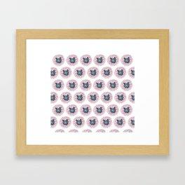 Painting of Gray Cat Head on Floral Pattern Digital Art Framed Art Print