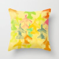 planes Throw Pillows featuring Planes by Megan Spencer