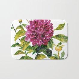 Cut Dahlia Watercolor on Wrinkled Paper Bath Mat