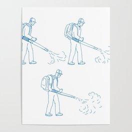 Gardener Leaf Blower Drawing Poster