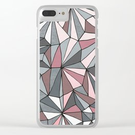 Urban Geometric Pattern on Concrete - Dark grey and pink Clear iPhone Case