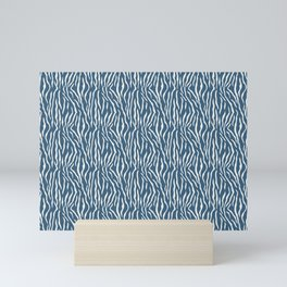 Off White Bold Tiger Stripes Pattern on Blue Pairs To 2020 Color of the Year Chinese Porcelain Mini Art Print