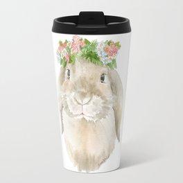 Lop Rabbit Floral Wreath Watercolor Painting Travel Mug