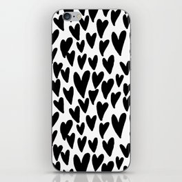 hearts love valentines day minimal black and white pattern gifts iPhone Skin