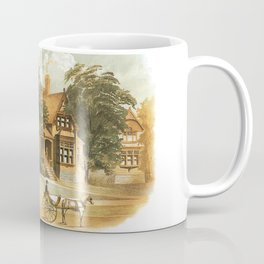 Vintage Victorian Houses illustration, Horse Carriage, Two People with Tennis Rackets Coffee Mug