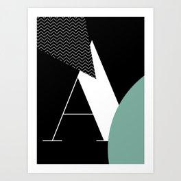 Serif - A - black Art Print
