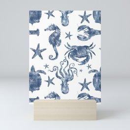 Delft Blue nautical Marine Life pattern, coastal beach Mini Art Print
