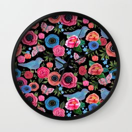 Mod floral bright & butterflies & birds Wall Clock